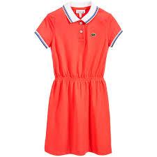 lacoste coral pink cotton piqué polo dress childrensalon