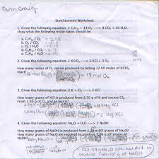 Stoichiometry Practice Worksheet Answer Key Faiths Chem