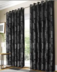 Black And White Damask Curtain Black Blackout Curtains Ring Top Velvet Style Diamante Thermal