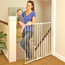 Baby Gates For Top Of Stairs With Banisters Amazon Com North States Supergate Easy Swing U0026 Lock Gate Linen