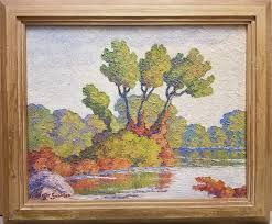 early fall smoky hill river kansas by birger sandzén 1944 oil painting on board 16 x 20 inches fair to good condition 20 000