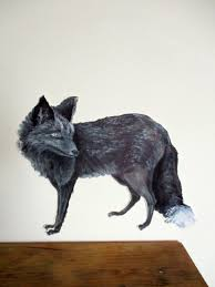 silver fox decal fox wall decal wolf wall decal wildlife