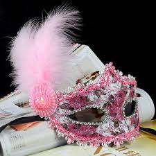 pink mardi gras mask women ostrich feather mask diamond lace mask
