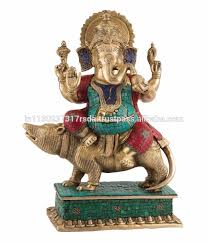sculpture home decor ganesha sitting on mouse statue indian deity brass idol figurine