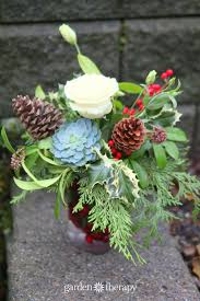Frugal Flowers - a festively frugal holiday flower arrangement garden therapy