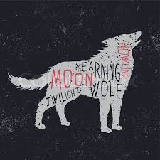 wolf howling at the moon typography design for t shirts stock