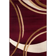 Designer Modern Rugs Contemporary Modern Wavy Circles Burgundy 7 Ft 10 In X 10