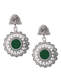 peacock design earrings buy green glass silver earrings with peacock design online at