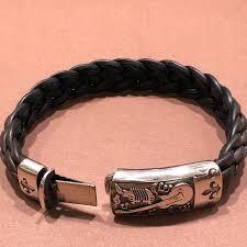 leather sterling bracelet images Sterling silver braided leather bracelet poshmark jpg