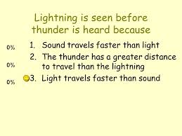 Lightning is seen before thunder is heard because 1 sound travels