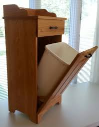 picture of amish made wooden slim line tilt out trash bin