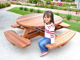 Kids Wooden Picnic Table Kid Size Round Wood Picnic Table Kit Forever Redwood