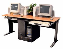long computer desk for two black steel computer desk with brown wooden counter top and two