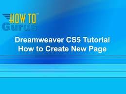 tutorial website dreamweaver cs5 dreamweaver cs5 tutorial website how to create a new page in