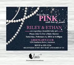 diamonds and pearls baby shower denim diamonds and pearls baby shower invitation it s a