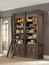 shabby chic bookshelf with ladder aside elegant window treatment