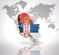 Flag Of Serbia Map Of Serbia With Serbian Flag On A World Map Background Stock