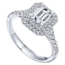 gold emerald engagement rings odette 14k white gold emerald cut halo engagement ring