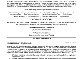 Substitute Teacher Resume Samples by Elementary Teacher Resume Example Education U0026 Credentials