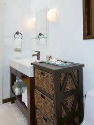 Bathroom Contemporary Bathroom Decor Ideas With Wricker | a contemporary bathroom makes clever use of a wood and wicker