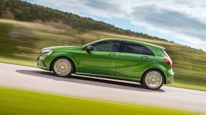 green mercedes benz 2016 mercedes benz a class a 220d 4matic elbaite green side
