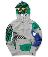 volcom boys vacation grey zip mask hoodie zumiez