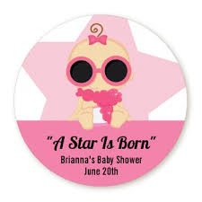 a star is born hollywood white pink personalized sticker labels