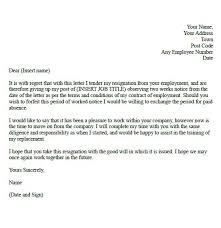 resignation letter format 2 weeks notice resignation letter