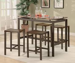 small marble top bar height dining table set and 4 backless chairs