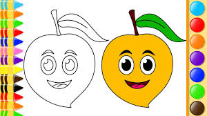 learn to draw mango fruit with coloring pages and colored marker