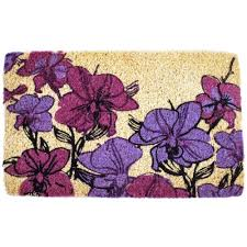 Flower Doormat Entryways Hand Drawn Orchids 18 In X 30 In Hand Woven Coconut