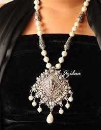 silver pearl necklace set images Ganesha antique silver pearl statement handmade necklace set azilaa jpg