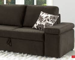 Pull Out Sectional Sofa Brown Fabric Modern Sectional Sofa W Pull Out Bed