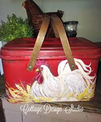 farmhouse rooster bread box bread box by cottagedesignstudio