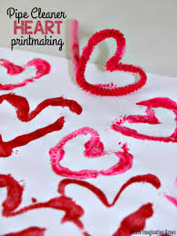 valentine u0027s day printmaking craft with pipe cleaners where