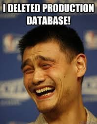 Meme Data Base - i deleted production database yao ming quickmeme