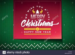 merry and happy new year message on vector knitted