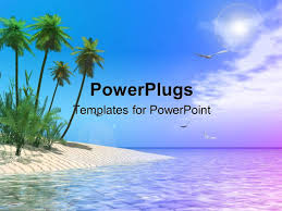 powerpoint template scenery of tropical beach with palm trees and