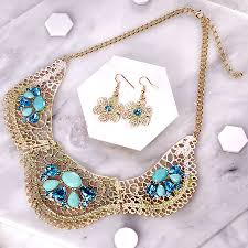 turquoise gold necklace images Turquoise and gold statement jewellery set by junk jewels jpg