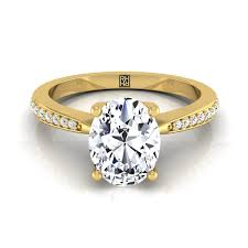 yellow gold oval engagement rings oval engagement ring 14k yellow gold tapered shank rockher