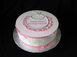 pink and green damask and bib baby shower cake the cake attic