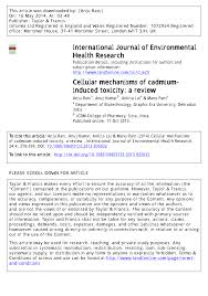 cellular mechanisms of cadmium induced toxicity a review