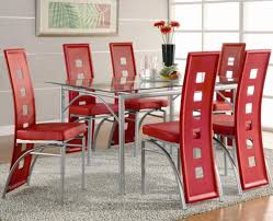 contemporary metal dinner table and red upholstered chairs los