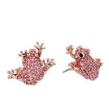 pink stud earrings kate spade gold swed pink pave frog stud earrings tradesy