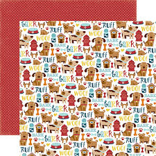 Dog Scrapbook Album Collection Puppy Icons 12 X 12 Double Sided Dog Scrapbook Paper