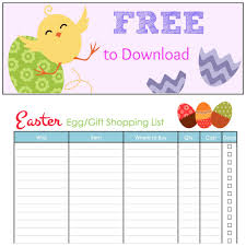 gift shopping list easter egg gift shopping list free to