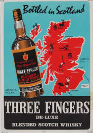 Scotch Whisky Map Three Fingers Scotch Whisky Original Vintage Poster From 1954