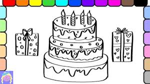 learn draw color birthday cake presents kids