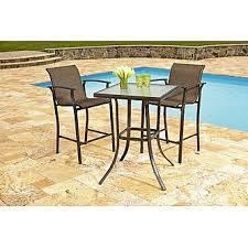 High Bistro Table Set Outdoor Garden Oasis Harrison 3 Pc High Sling Bistro Set