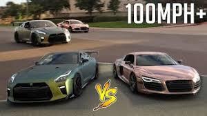 corvette vs audi r8 gold corvette vs fox gtr race